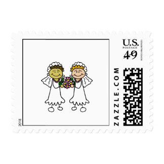 Two Brides with Flowers - Interracial Asian Stamp