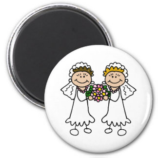 Two Brides with Flowers Refrigerator Magnets