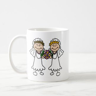 Two Brides with Flowers mug