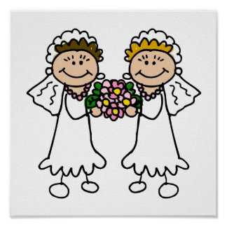 Two Brides with Flowers Poster