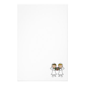 Two Brides with Flowers Stationery Design