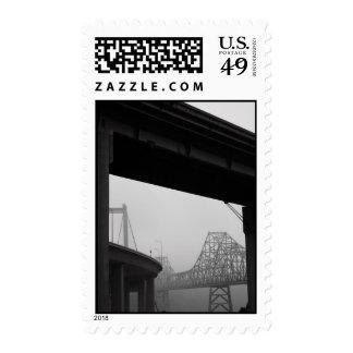 Two Bridges in a Fog Postage