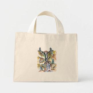 Two Bridges Landscape, Sumi-e in color Canvas Bags