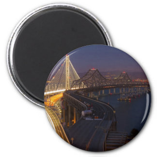 Two Bridges San Francisco–Oakland Bay Bridge 2 Inch Round Magnet