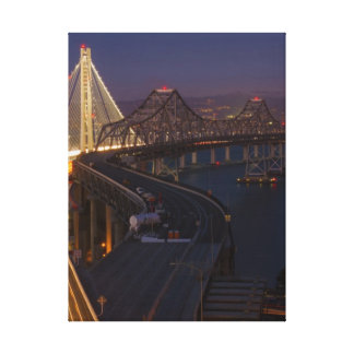 Two Bridges San Francisco–Oakland Bay Bridge Stretched Canvas Print