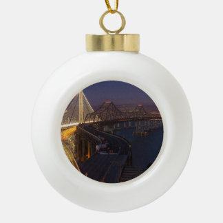 Two Bridges San Francisco–Oakland Bay Bridge Ceramic Ball Christmas Ornament