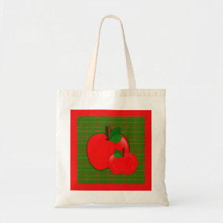 Two Bright Red Apples on Green Checkered Tote Bag
