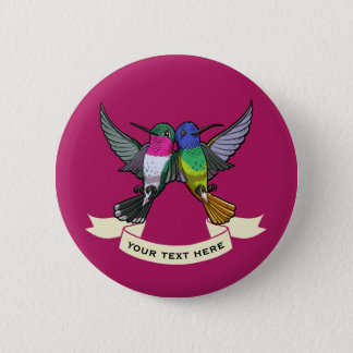 Two Brightly Colored Hovering Hummingbirds Cartoon Button