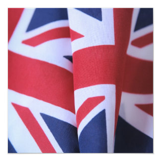 two British flags square invitation