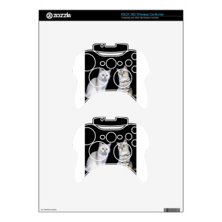 Two british short hair cats on black background xbox 360 controller decal