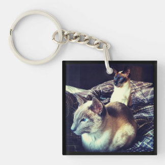 Two brothers Siamese Cats Keychain