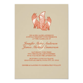 """Two Brown and Ivory Foxes Wedding Invitations 5"""" X 7"""" Invitation Card"""