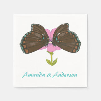 Two Brown Butterflies on Pink Flower Napkins