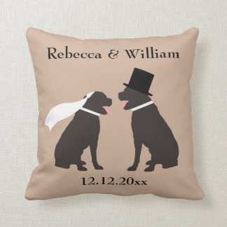 Two Brown Chocolate Labradors Personalized Wedding Throw Pillow