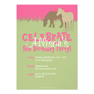 Two Brown Horses Girl s Birthday Party Invitation