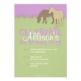 """Two Brown Horses Girl's Birthday 5"""" X 7"""" Invitation Card"""
