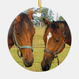 Two Brown Horses In A Field, Thoughtful Horses Ceramic Ornament