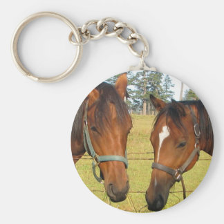 Two Brown Horses In A Field, Thoughtful Horses Keychain