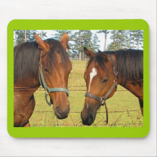 Two Brown Horses In A Field, Thoughtful Horses Mouse Pad