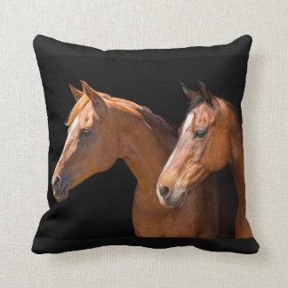 TWO BROWN HORSES THROW CUSHION PILLOWS