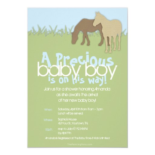 Two Brown Ponies Boy's Baby Shower 5x7 Paper Invitation Card