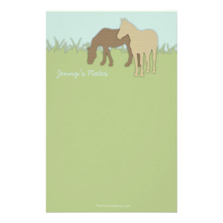 Two Brown Ponies Stationery