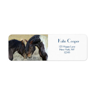 Two Brown Wild Horses Nuzzling Labels
