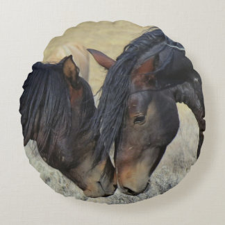 Two Brown Wild Horses Nuzzling Round Pillow
