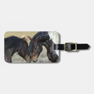 Two Brown Wild Horses Nuzzling Tag For Luggage