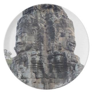 Two Buddhas of Ankor Wat .jpg Melamine Plate