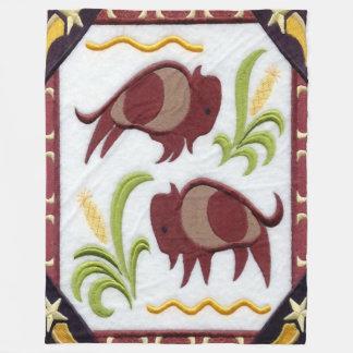 Two Buffalo (Bison) Fleece Blanket