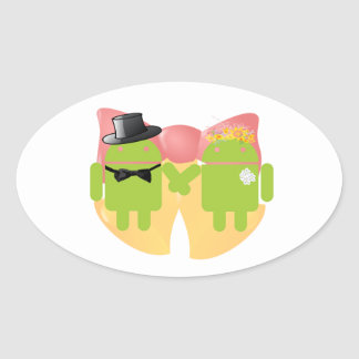 Two Bug Droids Wedding Attire Wedding Bells Oval Stickers