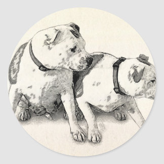 Two Bull Terriers Classic Round Sticker