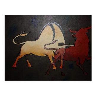 Two Bulls Fighting Postcard