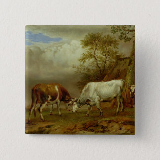 Two Bulls with Locked Horns, 1653 Button