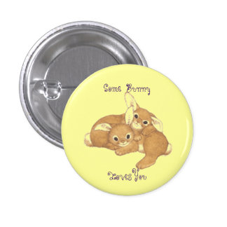 Two Bunnies Button Pin 1 Inch Round Button
