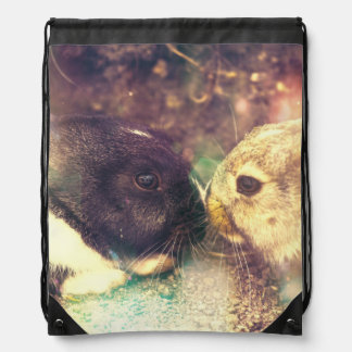 Two Bunnies, Rabit Photograph, Purple Magical Drawstring Backpack