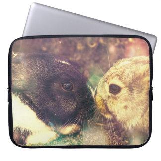 Two Bunnies, Rabit Photograph, Purple Magical Laptop Sleeve