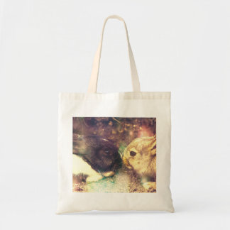 Two Bunnies, Rabit Photograph, Purple Magical Tote Bag