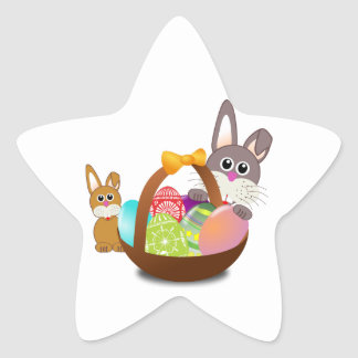 Two Bunny Rabbits with Easter Eggs in a Basket Star Sticker