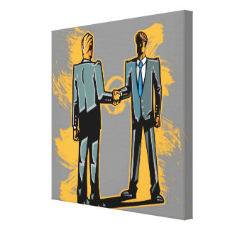 Two businessman shaking hands canvas print