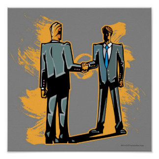 Two businessman shaking hands poster
