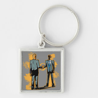 Two businessman shaking hands Silver-Colored square keychain