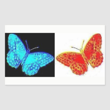 USA Themed Two Butterflies | Blue Black | Red White Sticker