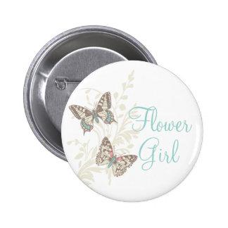 Two butterflies flower girl wedding pin button
