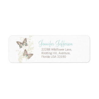 Two butterflies graphic wedding slim reply labels