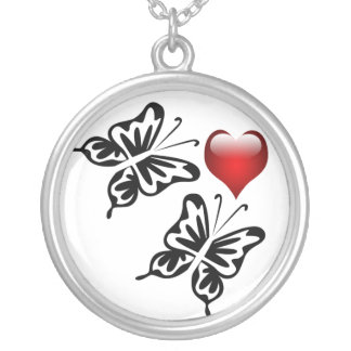 two butterflies heart silver plated necklace