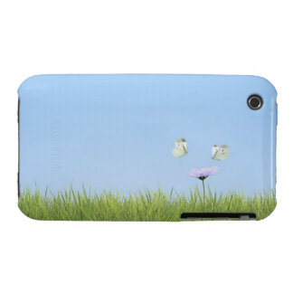 Two butterflies hovering over flower Case-Mate iPhone 3 case