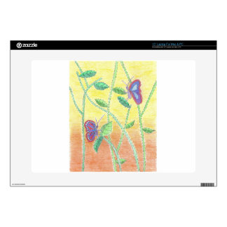 "Two Butterflies in Forest 15"" Laptop Skins"