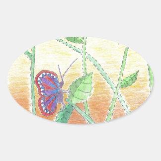 Two Butterflies in Forest Oval Sticker
